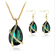 Jewelry Necklaces / Earrings Rose Gold Plated Crystal / Imitation Emerald Party Crystal / Rose Gold Plated 1set Women Green Wedding Gifts