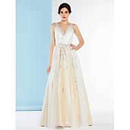 Lanting Bride® A-line Wedding Dress Floor-length V-neck Tulle with Sequin