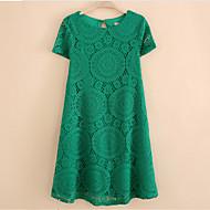 Kadın Parti/Kokteyl / Büyük Beden Elbise Solid,Kısa Kollu Yuvarlak Yaka Diz üstü Mavi / Kırmızı / Beyaz / Siyah / Yeşil Polyester Yaz