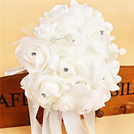 Satin Foam Rose Flower Wedding Bouquet with Rhinestone Pearl (37*25*25cm)