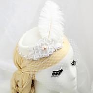 Dame / Blomsterpige Fjer / Stof / Net Medaljon-Bryllup / Speciel Lejlighed Fuglebur Slør 1 Stykke