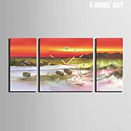 E-HOME® The Coast of The Small Boat Clock in Canvas 3pcs