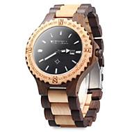 Men's Wrist watch Wood Watch Quartz Japanese Quartz Wood Band Vintage Black Brown