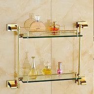 Gold-Plated Brass Material Bathroom Shelves