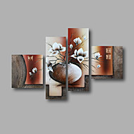 "Ready to Hang Stretched Hand-painted Oil Painting 64""x44"" Canvas Wall Art Modern White Magnolia in Vase Brown"