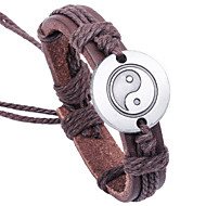 Men's Leather Weave Adjustable Bracelet with TAIJI the Great ultimate