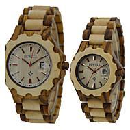 Men's Women's Unisex Wrist watch Unique Creative Watch Wood Watch Quartz Japanese Quartz Wood Band Vintage Black Brown
