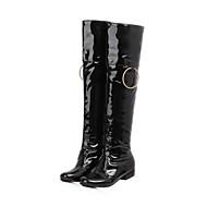 Kozačky - Lakovaná kůže - Módní boty - Dámská obuv - Černá / Červená / Bílá - Šaty / Běžné - Nízký podpatek