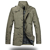 Ruitjes-Informeel / Grote maten-Heren-Polyester-Trenchcoat-Lange mouw Zwart / Geel