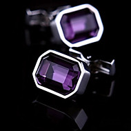 Fashion Copper Men Gift Jewelry Silver Plated Purple Blue Crystal Shirt Button Cufflinks(1Pair)