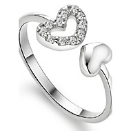 S925 Fine Silver Double Heart Shape Open Ring for Wedding Party Fine Jewelry