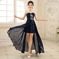 Formal Evening Dress - Ink Blue A-line Sweetheart Asymmetrical Chiffon