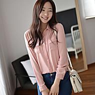 Vrouwen Eenvoudig Lente Overhemd,Casual/Dagelijks Effen Overhemdkraag Lange mouw Roze / Wit / Zwart Polyester Dun