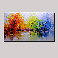 Hand-Painted Color Tree Abstract Landscape Modern Oil Painting On Canvas One Panel Ready To Hang 75x150cm