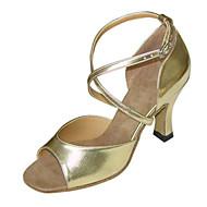 Non Customizable Women's Dance Shoes Latin /Swing/Salsa / Samba/ Leatherette / Taffeta Chunky HeelBlack /Silver/Gold/