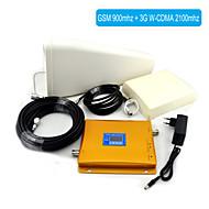 gsm / 3g W-CDMA mobiele telefoon dual-band signaal booster, signaalversterker + log periodieke antenne + vlakke antenne