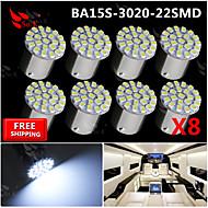 8x super lyse hvide 22 førte 3020 SMD BA15s 1156 bil bag turn lyssignal pære 12v