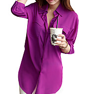 Women's Solid White/Purple Shirt, Loose V Neck ¾ Sleeve with Pockets