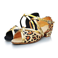 Non Customizable Women's / Kids' Dance Shoes Latin Satin Low Heel Gold / Leopard