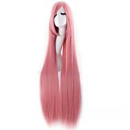 여성 인조 합성 가발 캡 없음 매우 긴 스트레이트 핑크 할로윈 가발 카니발 가발 의상 가발