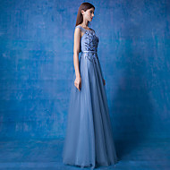 Formal Evening Dress - Ocean Blue A-line Scoop Floor-length Lace / Tulle