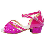 Non Customizable Women's / Kids' Dance Shoes Latin Satin / Flocking / Synthetic Low Heel Pink / Silver / Gold
