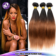 Top Grade 3Pcs/Lot 12-26inch Peruvian Virgin Hair Straight Ombre Virgin Hair Extensions Human Hair Wave Bundles