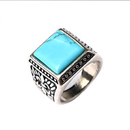 Men's Retro Rthnic Style Carved Turquoise Inlay Alloy Ring