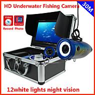trouveur de poissons caméra sous-marine 30m sous l'enregistrement DVR de pêche caméra HD 1000 TVL 7 '' de l'écran LCD numérique