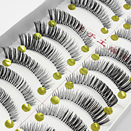 10 Pairs Soft Natural Black False Eyelashes Fake Lashes Individual Lash Luster Cross Curl Clear Strip