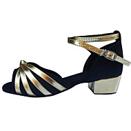 Non Customizable Women's / Kids' Dance Shoes Latin Satin Low Heel Black / Blue / Brown / Red