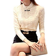 Women's Beige Blouse , Stand Long Sleeve