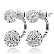 S925 Fine Silver Double Ball Shape Crystal Stud Earrings