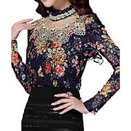 Dames Sexy Herfst / Winter Blouse,Uitgaan / Grote maten Bloemen Opstaand Lange mouw Blauw Polyester Dik