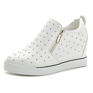 Women's Shoes Leatherette Flat Heel Comfort Fashion Sneakers Outdoor / Dress / Casual Black / White
