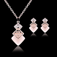 Lucky Doll Women's All Matching Crystal Rose Gold Plated Zirconia Geometric Necklace & Earrings Jewelry Sets