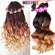 "3 Pcs /Lot 16""-24""7A 3T Brazilian Virgin Loose Wave Hair Extensions 100% Unprocessed Virgin Human Ombre Hair Weaves"