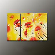 Handgeschilderde Bloemenmotief/BotanischModern Drie panelen Canvas Hang-geschilderd olieverfschilderij For Huisdecoratie