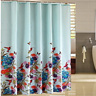 "Shower Curtain Modern Style Blue Flower Print Thick Fabric Water-resistant W71"" x L71"" with Mental Hooks"