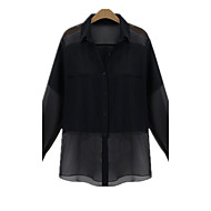 Spring New Casual Plus Sizes Women Fashion Stars Paragraph Shirt Collar Long Sleeve temperament Shirt