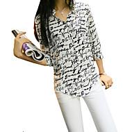 Mulheres Camisa Casual Simples Verão,Estampado Branco Poliéster Colarinho de Camisa Manga ¾ Fina