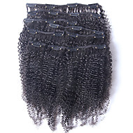 New Brazilian 100% Human Hair Clip Ins Afro Kinky Curly Clip Ins Extensions In Hair Weaves Natural Black Color 8 pcs/set