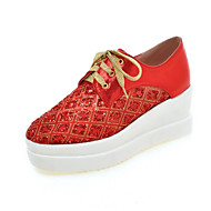 Women's Shoes Leatherette Wedge Heel Creepers / Pointed Toe Fashion Sneakers Casual Black / Red / White / Gold