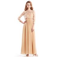 Lanting en-line mor til bruden kjole - champagne ankel-længde 3/4 længde ærme chiffon / blonder