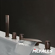 Mlfalls Deck Mount 5-Hole Brass Oil-Rubbed Bronze Finish Widespread Waterfall Bathroom Faucet with Hand Shower