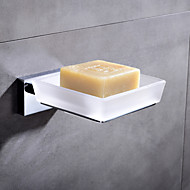 HPB® Contemporary Chrome Finish Brass Holder and Glass Dish Wall Mounted Soap Dishes