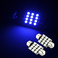 2 x blauw 12 smd LED Festoen interieur dome gloeilamp 36mm