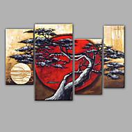 Ručně malované Květinový/Botanický motivRealismus Čtyři panely Plátno Hang-malované olejomalba For Home dekorace