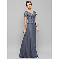 Sheath/Column Mother of the Bride Dress - Floor-length Short Sleeve Chiffon / Lace