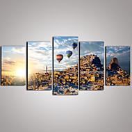 Matkailu / Leisure / Landscape / Kasvitiede / Valokuvaus / Realismi Canvas Tulosta 5 paneeli Valmis Hang , Horizontal